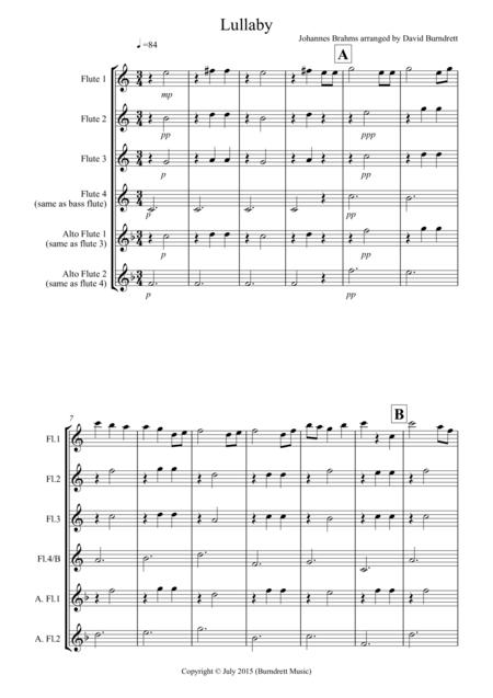 Brahms Lullaby for Flute Quartet
