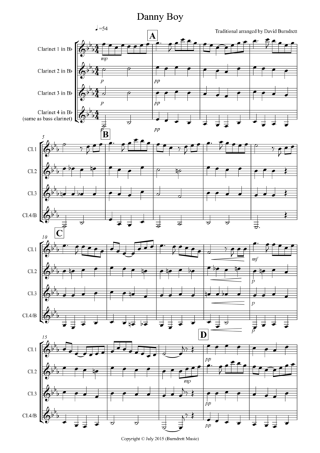 Danny Boy for Clarinet Quartet