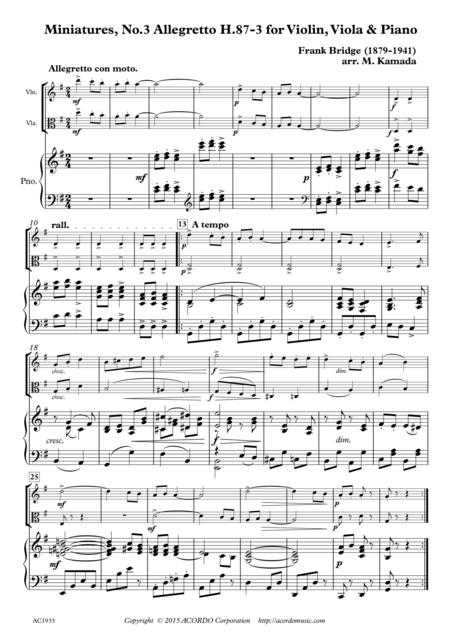 Miniatures, No.3 Allegretto H.87-3 for Violin, Viola & Piano