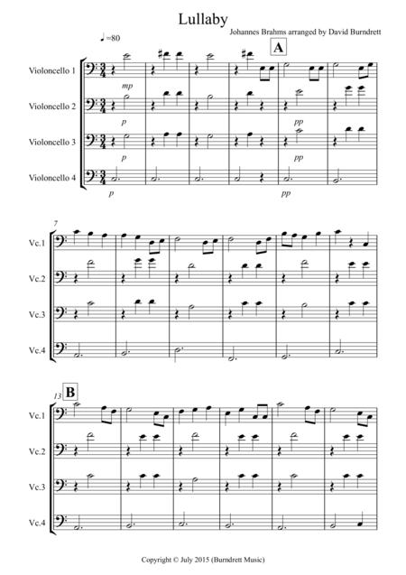 Brahms Lullaby for Cello Quartet