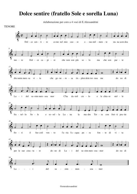 fratello Sole sorella Luna (dolce sentire) per coro (parte tenore)