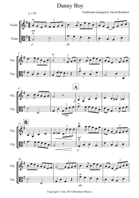 Danny Boy for Violin and Viola Duet