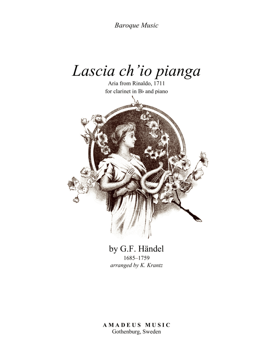 Aria - Lascia ch'io pianga for clarinet in Bb and piano
