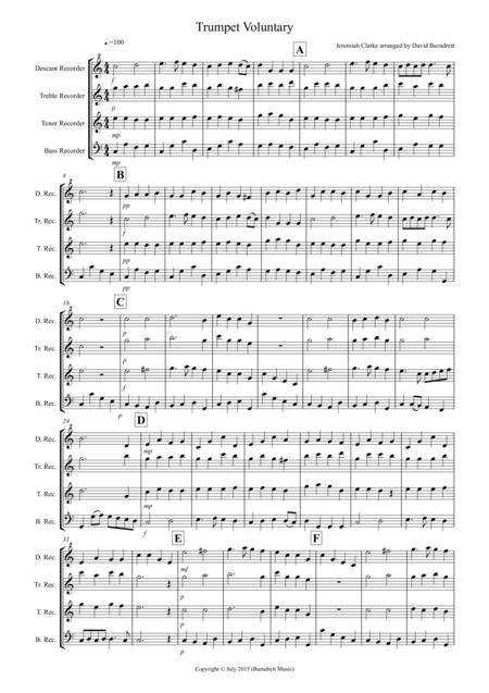 Trumpet Voluntary for Recorder Quartet