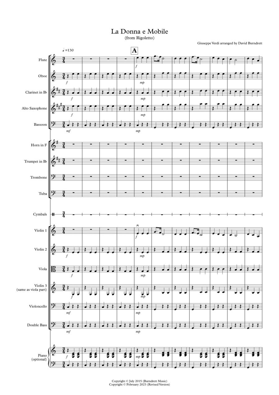 La Donna e Mobile (from Rigoletto) for School Orchestra