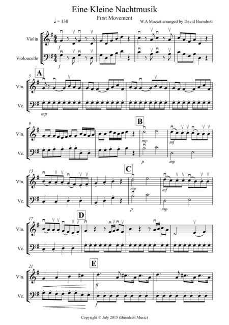 Eine Kleine Nachtmusik (1st movement) for Violin and Cello Duet