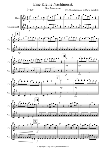 Eine Kleine Nachtmusik (1st movement) for Flute and Clarinet Duet