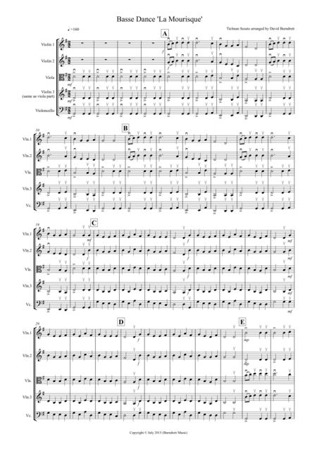 Basse Dance by Susato for String Quartet
