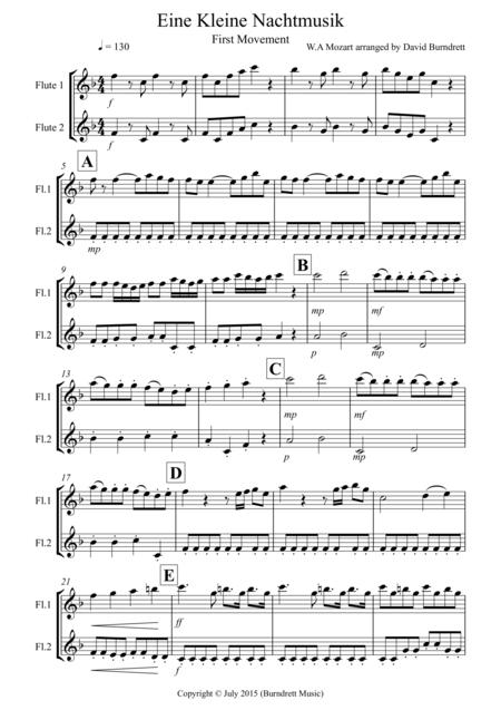 download eine kleine nachtmusik 1st movement for flute duet sheet music by wolfgang amadeus. Black Bedroom Furniture Sets. Home Design Ideas