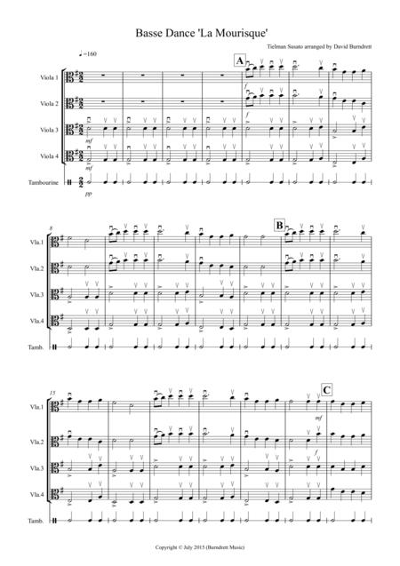 Basse Dance by Susato for Viola Quartet