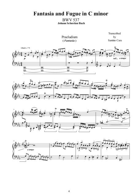 The Bach's Fantasies and Fugues for piano