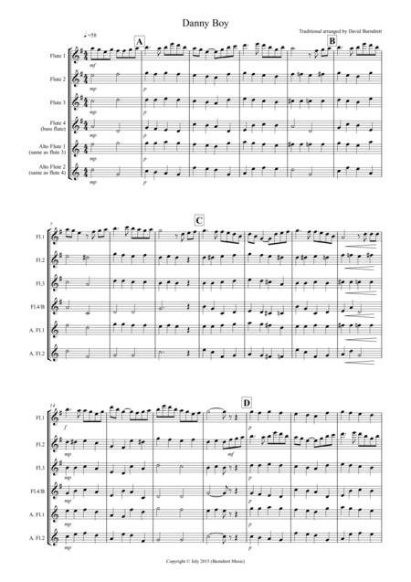 Danny Boy for Flute Quartet