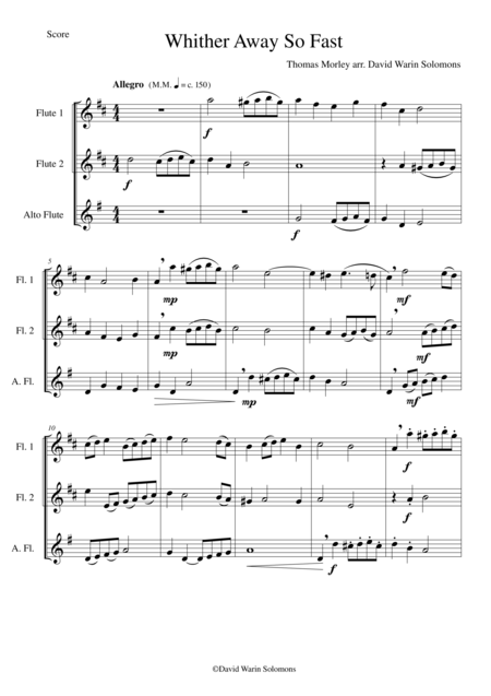 Whither away so fast for flute trio (2 flutes and 1 alto flute)