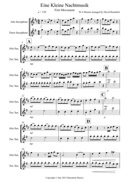 Eine Kleine Nachtmusik (first movement) for Alto and Tenor Saxophone Duet
