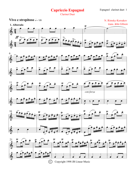 Capriccio Espagnol Clarinet Duet