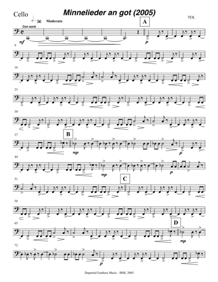 Mechthild von Magdeburg ... Minnelieder an Got (2005) for chorus, harp and string quintet: cello part