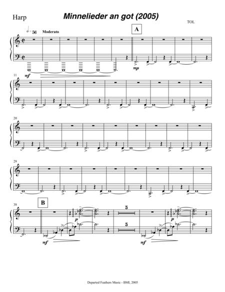 Mechthild von Magdeburg ... Minnelieder an Got (2005) for chorus, harp and string quintet: harp part