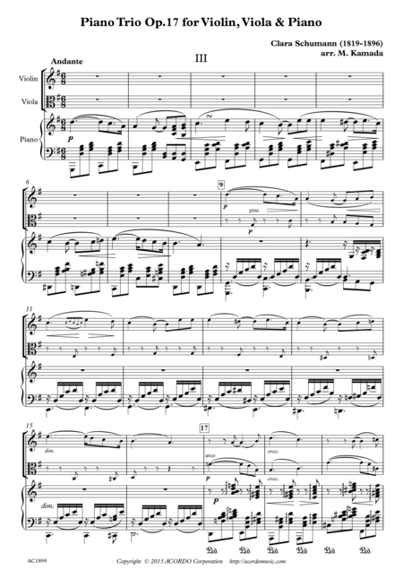 Andante from Piano Trio Op.17 for Violin, Viola & Piano