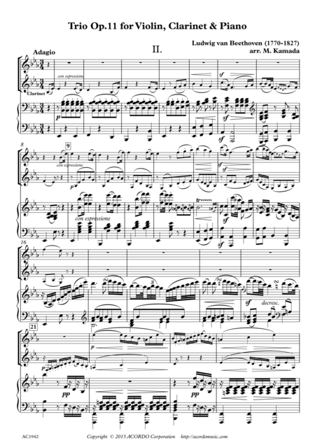 Adagio from Trio Op.11 for Violin, Clarinet & Piano