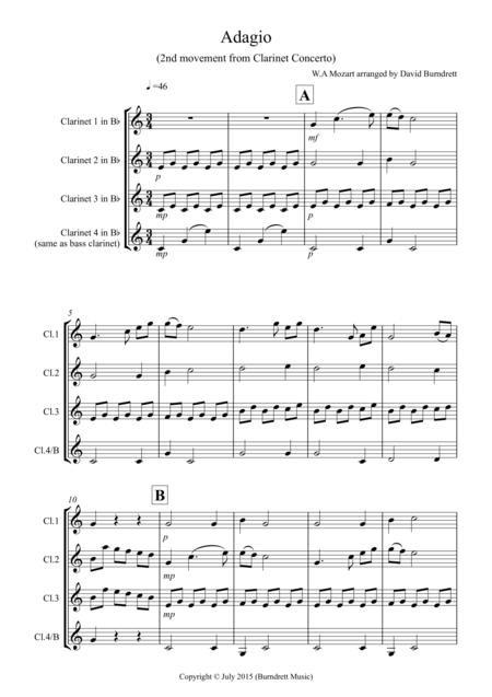 Adagio from Mozart's Clarinet Concerto for Clarinet Quartet