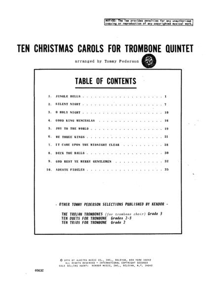 Ten Christmas Carols For Trombone Quintet/Full Score
