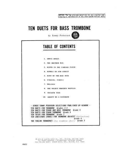 Ten Duets For Bass Trombone