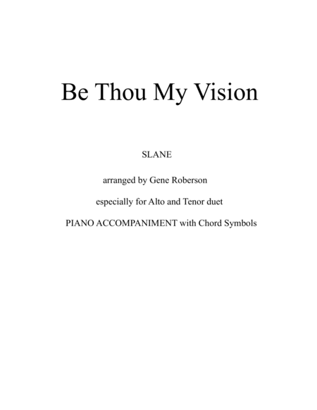 Be Thou My Vision (SLANE) Vocal Duet (Alto Tenor)