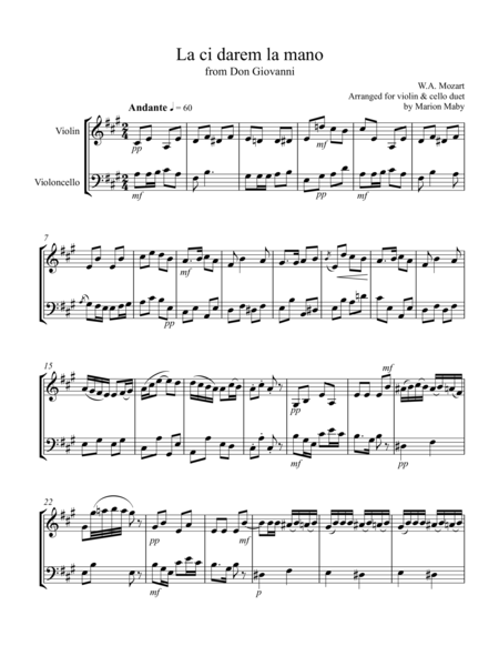 Two Mozart Arias arr. for vln. & cello duet