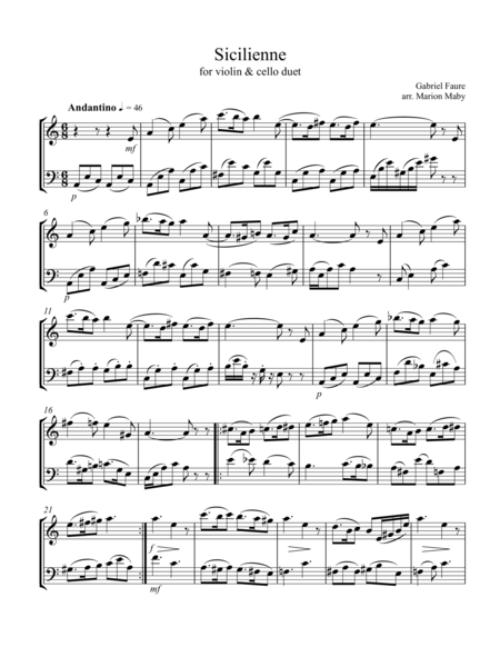 Faure Sicilienne, arr. for violin & cello duet