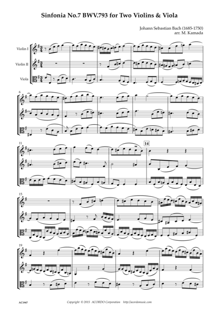 Sinfonia No.7 BWV.793 for Two Violins & Viola