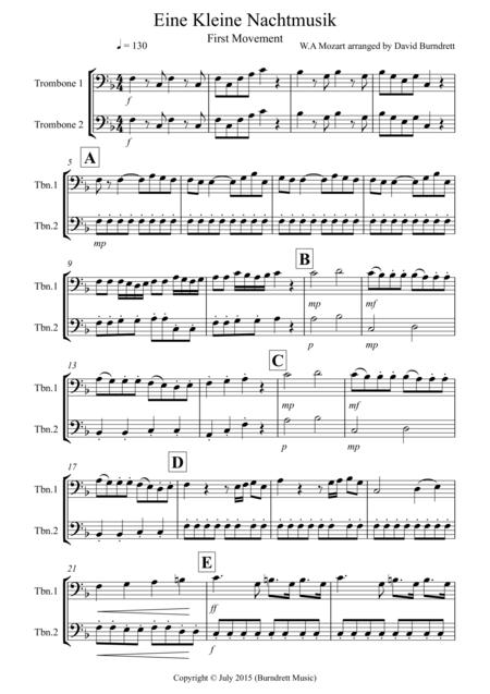 Eine Kleine Nachtmusik (1st movement) for Trombone Duet