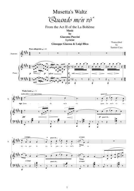 Puccini - Quando me'n vò (Musetta's Waltz) La Bohème (Act 2) - Soprano and piano