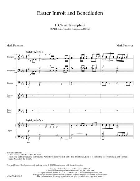 Easter Introit and Benediction (Full Score and Parts)