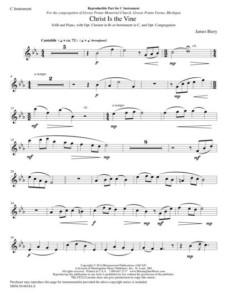 Christ Is the Vine (opt. C/B-flat Instrument Part)