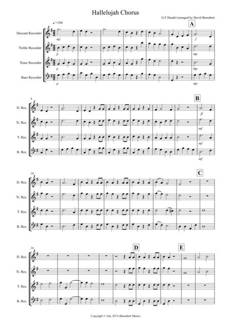 Hallelujah Chorus for Recorder Quartet