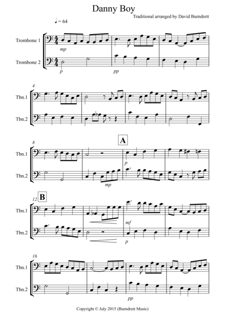 Danny Boy for Trombone Duet