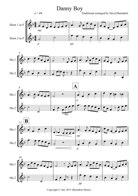 Danny Boy for French Horn Duet