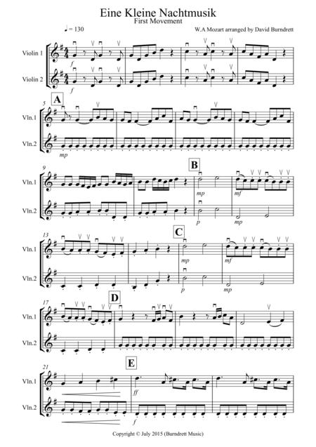 download eine kleine nachtmusik 1st movement for violin duet sheet music by wolfgang amadeus. Black Bedroom Furniture Sets. Home Design Ideas