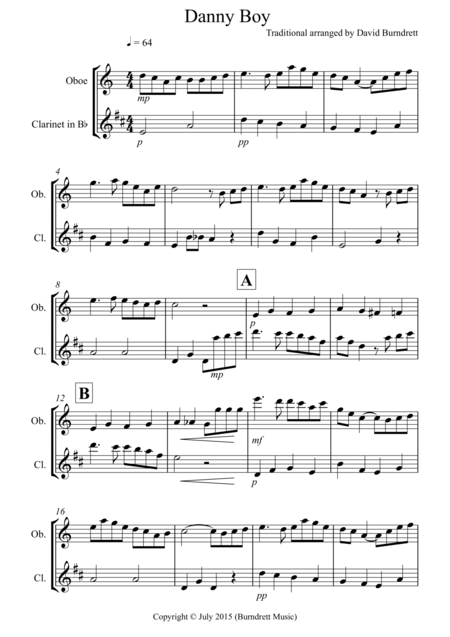 Danny Boy for Oboe and Clarinet Duet