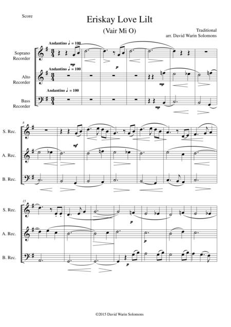 Eriskay love lilt (Vair Mio) for recorder trio