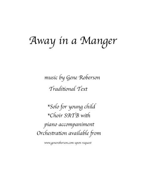 Away in a Manger  (New Tune)