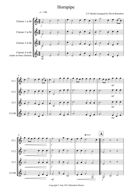 Hornpipe from Handel's Water Music for Clarinet Quartet