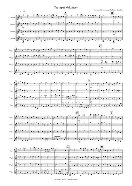 Trumpet Voluntary for Violin Quartet