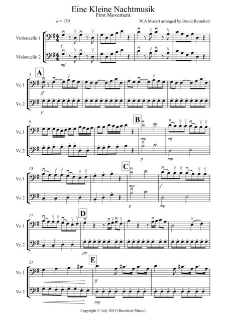 Eine Kleine Nachtmusik (1st movement) for Cello Duet