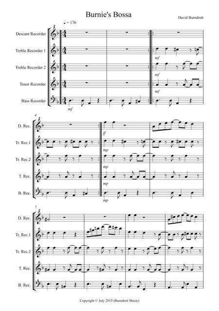Burnie's Bossa for Recorder Quintet