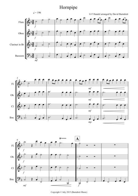 Hornpipe from Handel's Water Music for Wind Quartet