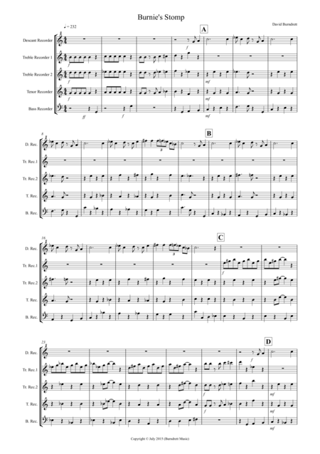 Burnie's Stomp for Recorder Quintet