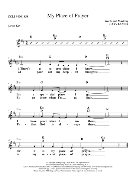 MY PLACE OF PRAYER (Lead Sheet in the key of D with Melody, Guitar Chords & Lyrics)