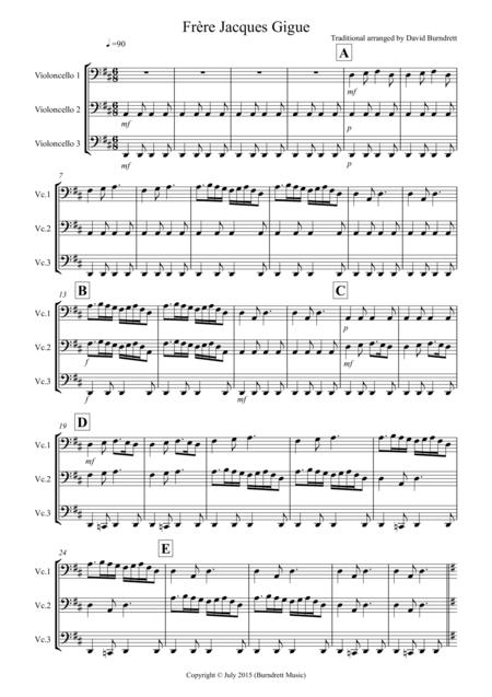 Frere Jacques Gigue for Cello Trio