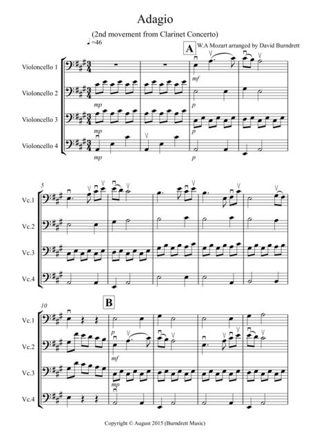 Adagio from Mozart's Clarinet Concerto for Cello Quartet